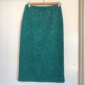 Anthropologie Bordeaux Pencil Skirt Blue Green S